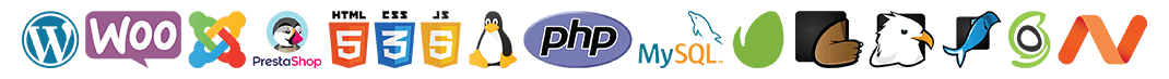 WordPress, WooCommerce, Joomla, PrestaShop, HTML, JavaScript, CSS, Linux, PHP, MySQL, Envato, Theme Forest, CodeCanyon, GraphicRiver, SiteGround, NameCheap